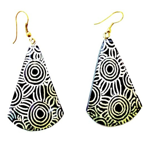 Iwantja Aboriginal Arts Lacquered Earrings - Iwantja (Black)