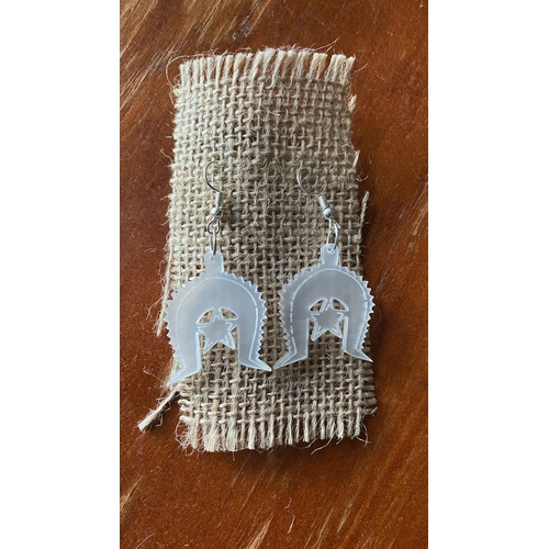 Torres Strait Island Handmade Dhari Earrings - Clear