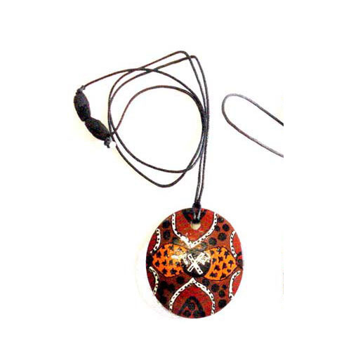Keringke Aboriginal Art Pendant - Bush Tucker Red