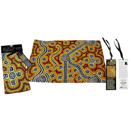 Dreaming Collection Aboriginal Art Cotton Teatowel - Brush-tailed Possum Dreaming