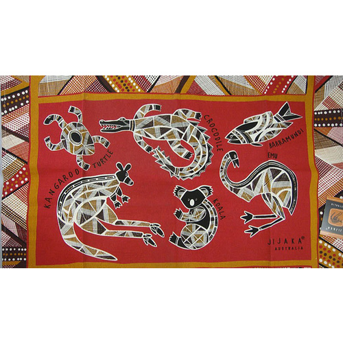 Jijaka Aboriginal Art Cotton Teatowel - Animals 6