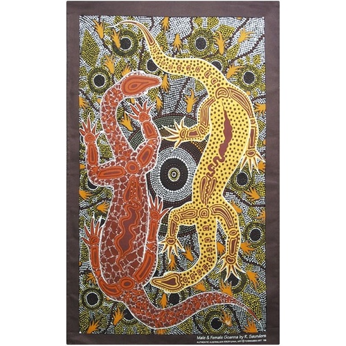 Tobwabba Aboriginal Art Cotton Teatowel - Male & Female Goannas