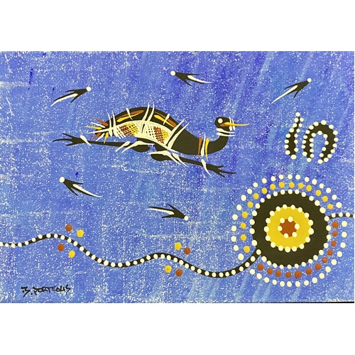 "Handpainted Aboriginal Art Canvas Board (5""x 7"") - Emu (Blue)"