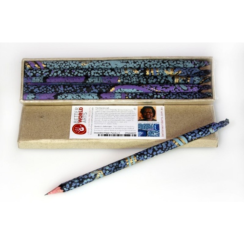 Handmade Paper Aboriginal Art Pencils (Set 5) - Emu Dreaming