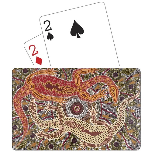 Tobwabba Aboriginal Art Plastic Coated Playing Cards - Male & Female Goannas