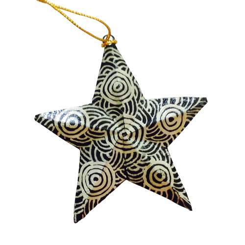 Iwantja Aboriginal Art design Paper Mache Xmas Decoration - Star (Tjukurla)